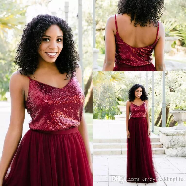c93a5342eb 2018 Burgundy Sparkle Sequined Bridesmaid Dresses A Line Tulle Sequins Top  Floor Length Maid Of Honor Dresses Vintage Prom Gowns For Wedding Elegant  ...