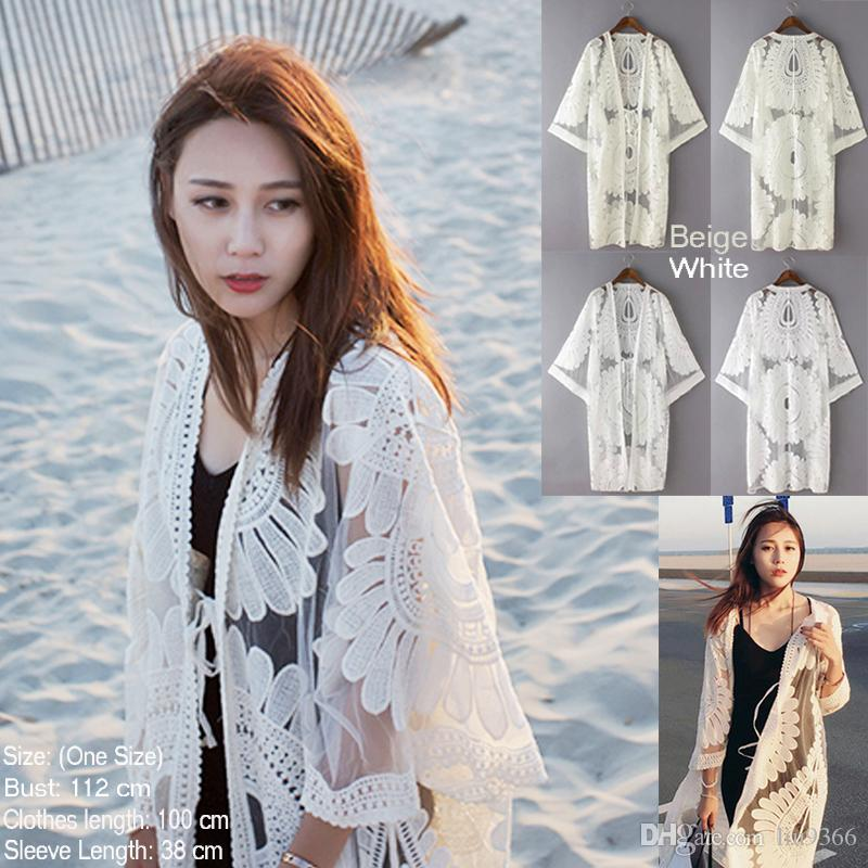 Up Beige Kimono Cardigan Cover Blanco Floral Verano Girasol Compre qC4wTxfP