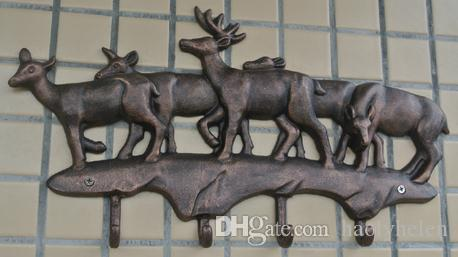 Cast Iron Deer Hooks Antique Metal Hat Coat Clothes Rack Hanger Rural Hanging Wall Mounted Home Decorations EMS