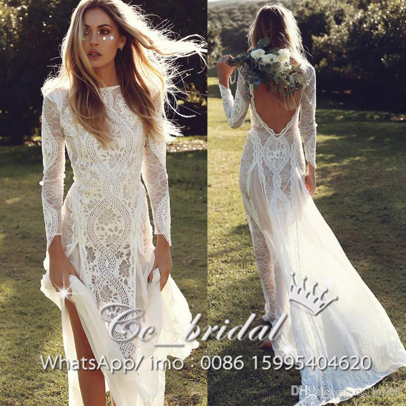 2017 elegant lace bohemian wedding dresses sexy backless for Bohemian style wedding dresses for sale