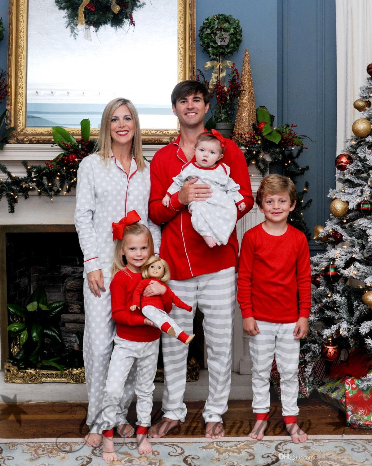 New christmas family matching outfits dot printed stripe for The best short time holiday family pictures ideas