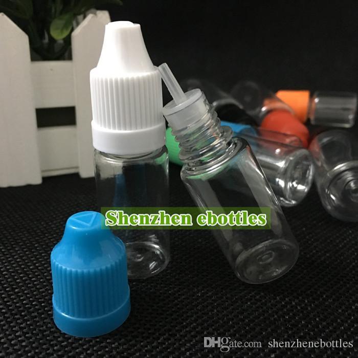 envío al por mayor botellas de PET 10ml eLiquid botella vacía de plástico Botellas de PET con cuentagotas Tapas a prueba de niños y puntas de aguja fina larga gratuito