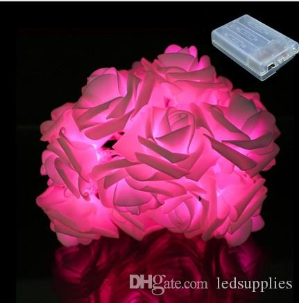 2 m 20 led corda luzes de fadas bateria operado rose flores flash luzes guirlanda para decoração de festa de casamento jardim