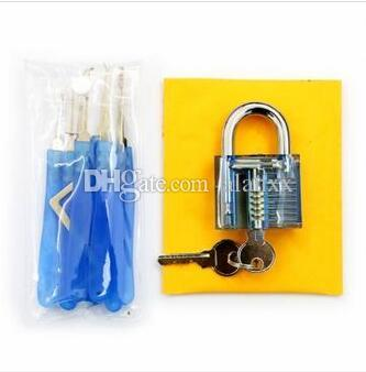 Blue Practice Padlocks with Unlocking Lock Pick Set Key Extractor Tool Lock Pick Tools