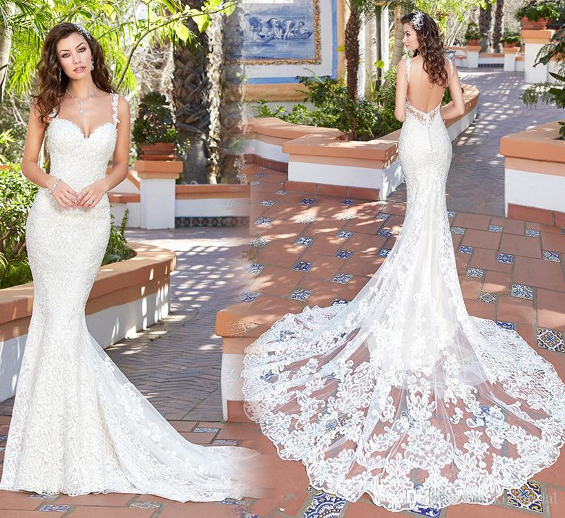 Sexy Backless Mermaid Wedding Dresses Lace Applique