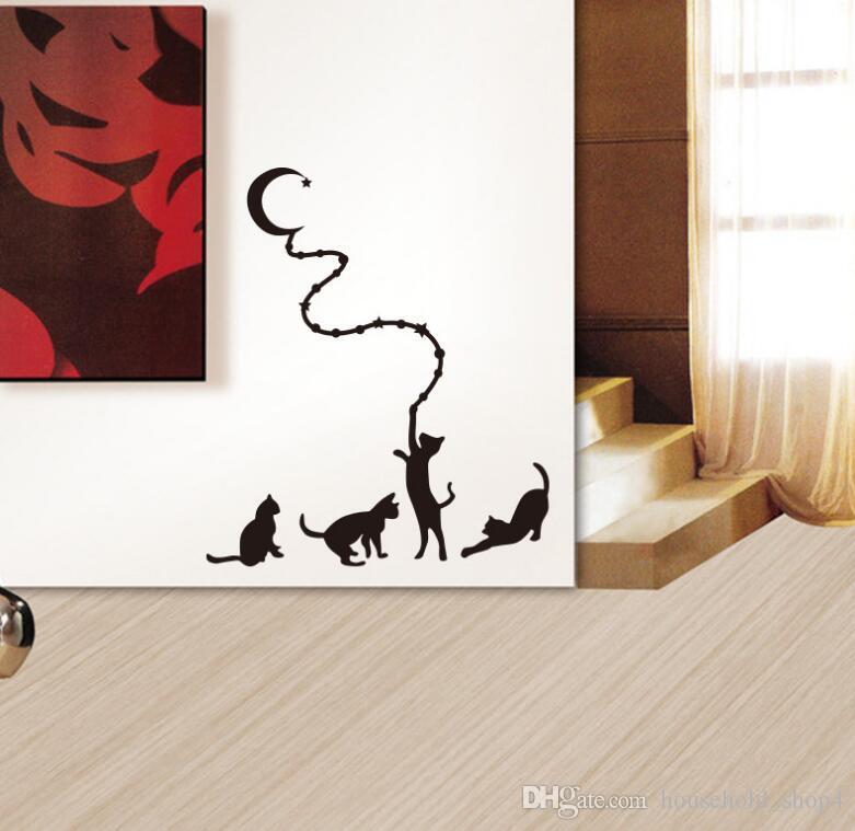 Katze Mond Wandaufkleber Wandtattoo Cartoon Tier Aufkleber für Kind Kinder Zimmer Wohnkultur Heißer Verkauf