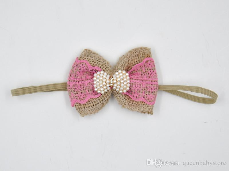 Baby Flower Bow Headband Matching Pearl Lace Nylon and Flax Vintage Bandeau Infant Hair Bow Newborn Photography Props QueenBaby