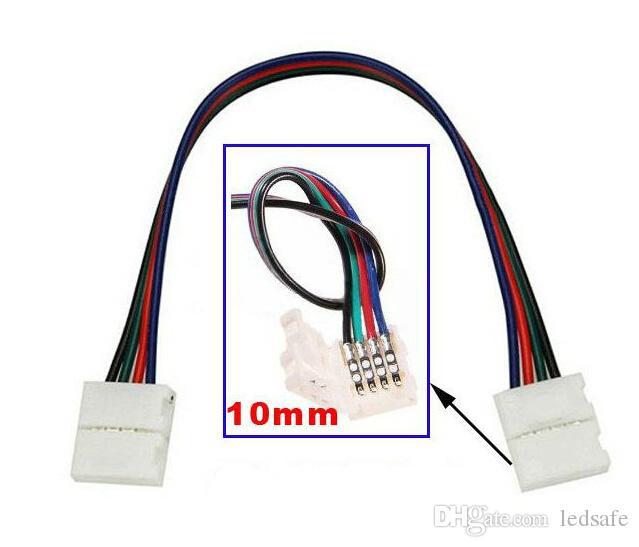 SMD에 대한 케이블 납땜와 함께 두 개의 커넥터 점퍼 4 핀 10mm 5050 RGB LED 램프 스트립 빛 로프 리본 Dropshipping를