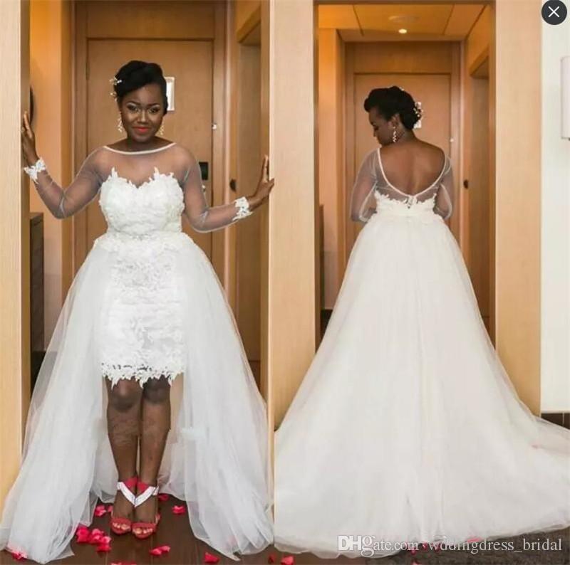 Acheter Robes De Mariée Grande Taille Africaine 2019 Sexy Voir À Travers  Les Robes De Mariage À Manches Longues Bas Haute Plage Robes De Mariée De   175.27 ... 42e9442ef0e5