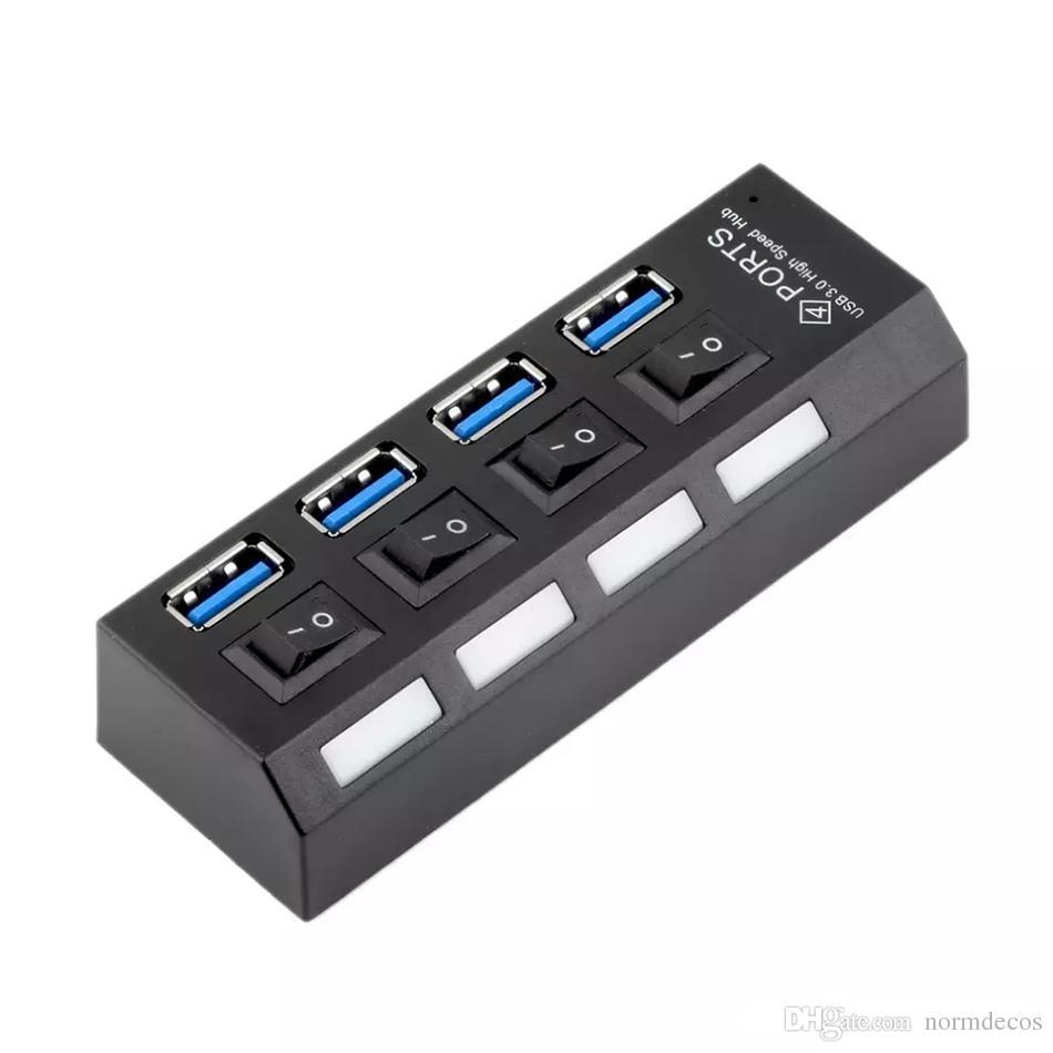 USB 3.0 Hub 4 Ports Super Speed 5 Gbps Mit Ein / Aus-Schalter Für Windows Mac OS Linux PC Laptop Schwarz 0502017