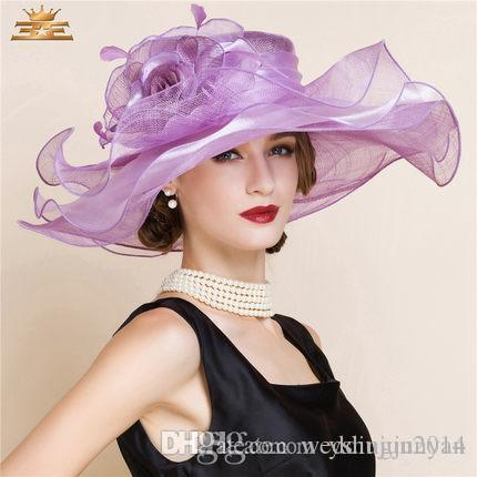 5105ac7aa6c53 2015 Charming Ladies Church Hats Organza Wedding Hat Bow Handmade Flowers Women  Hats Wide Brim Hats Wedding Party Accessories Winter Hats For Women Beach  ...