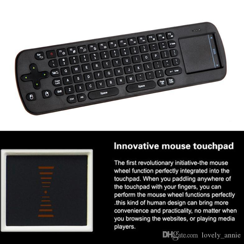 Retail RC12 Mini Handheld 2.4G Wireless Touchpad Air Mouse Keyboard Remote Control For PC Notebook Android TV BOX Black