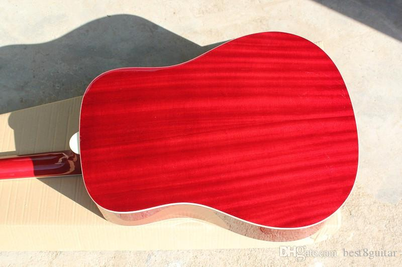 Hot Sale Wholesale Custom High Quality Cherry Burst Spruce Top Rosewood Fretboard Acoustic Guitar China Guitar