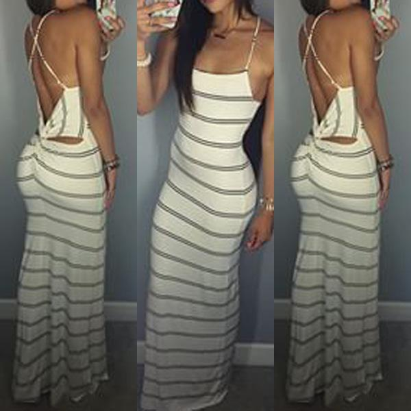 Women Striped Boho Long Maxi Sleeveless Beach Vest Dress Striped Twist Cut  Out Back Maxi Dress 60385 Mono Mujer Corto Club Dresses Occasion Dresses  From ... d17a5baf2f3c