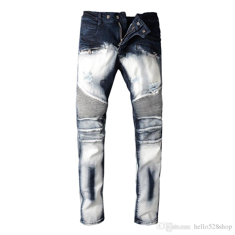 303116d3e48 Vintage Europe And the United States Locomotive Biker Jeans Grinding ...