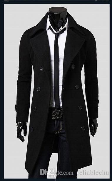 Worsted long Trench Coat Men Double Breasted Long Sleeve Big Turn Down Collar Split Design Slim Fit Man Long Trench Coats Free Ship y038