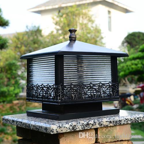 Lampes Style Pylône Bronze De Éclairage Led Rohs Ce Jardin E27 Base Shell Vintage Villa Fcc Black Extérieures Avec Source b6gyf7