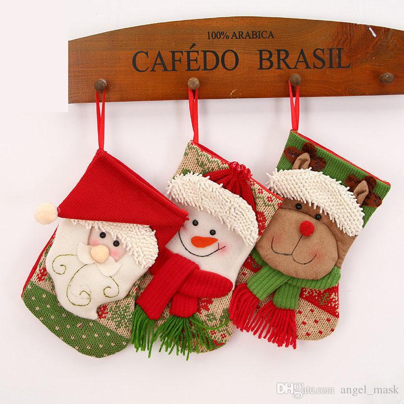 Decorazioni Artigianali Natalizie.Acquista Mini Calze Di Natale Calze Artigianali Decorazioni