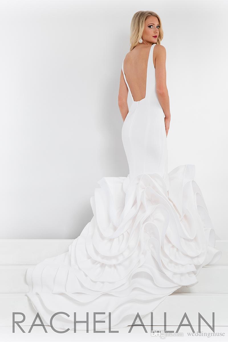 2021 Suknie Wieczorowe Nowa Bez Rękawów Sexy Syrenka Mermaid Backless Ruffles Spódnica Biała Formalna Elegancka Dress Custom