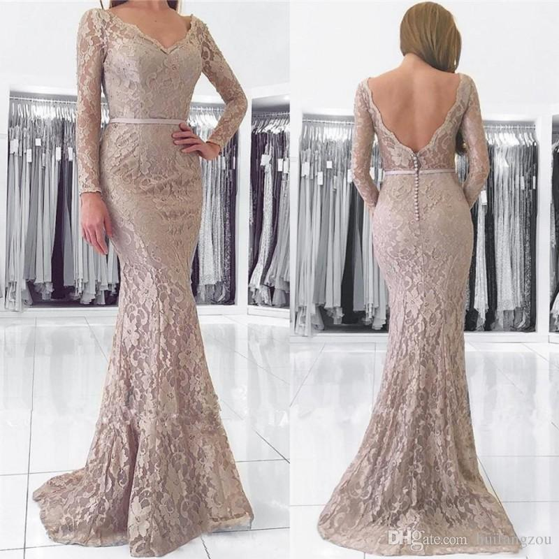 Mermaid Evening Dresses China Style Long Sleeves Sexy Back V Neck Lace  Embroidery Sweep Train Custom Made Formal Gowns Long Dresses Cheap Dresses  From ... baf34da3b426