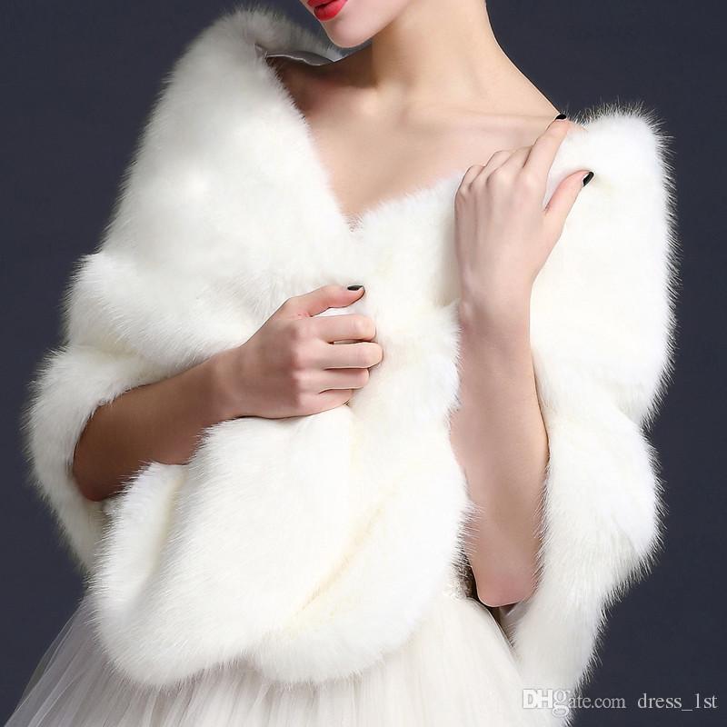 ブライダルシュッグは、ウェディングプロムホワイトレッドブラックウォームウォームブライドメイドボレロ送料無料のためのFaux Fur Shawlジャケットをラップします。