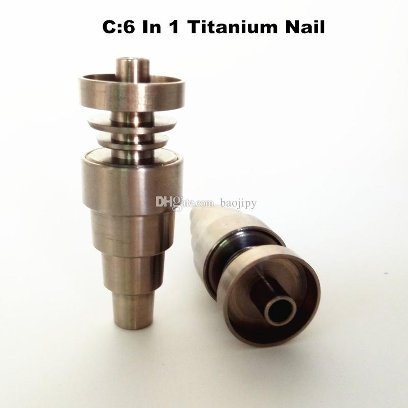 Universal 6 In 1 Titanium nail 10/14/18mm Female And Male Domeless Nail Carb Cap For Glass Pipe Or Silicone Pipe