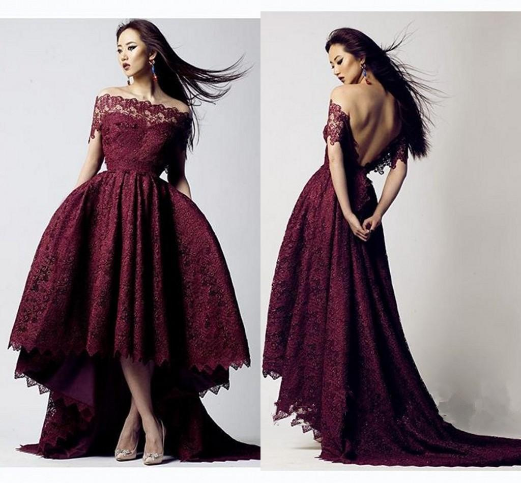 e2327499f0c11 Sexy Black Girl Prom Dress Off Shoulder V Back Maroon Burgundy Lace Front  Short Long Back Evening Dresses Wear Formal Cocktail Party Dress Canada  2019 From ...