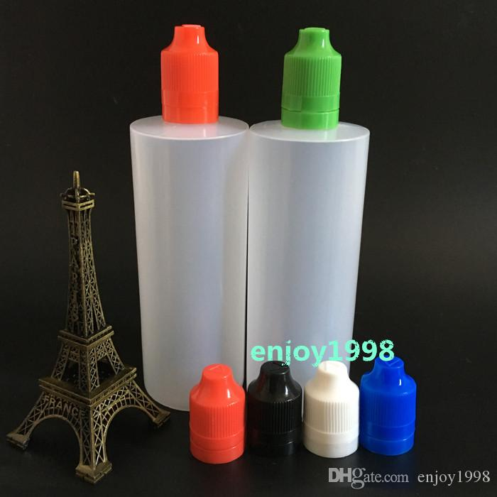 Оптовая 120 мл E сигарет Жидкие бутылки LDPE Tamper Очевидные с красочными Защита от детей LIDS иглы советы 120мл Eye Drop Эфирное масло бутылки