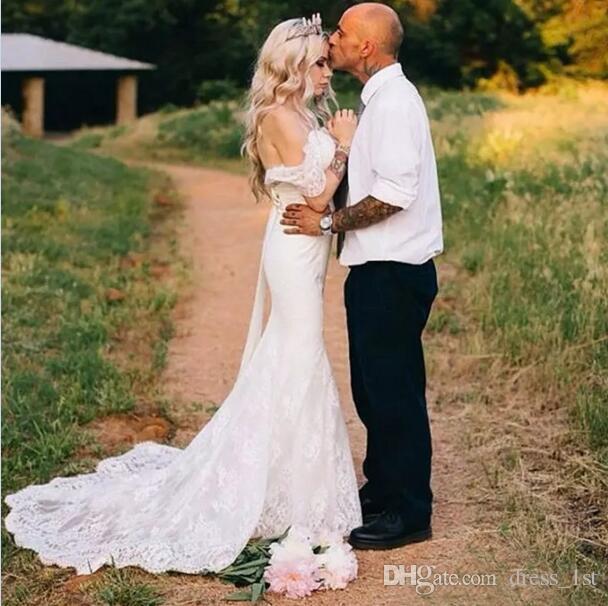 Romántico 2017 del cordón del hombro sirena vestidos de novia largo Bohemia jardín país vestidos de novia por encargo China EN82811