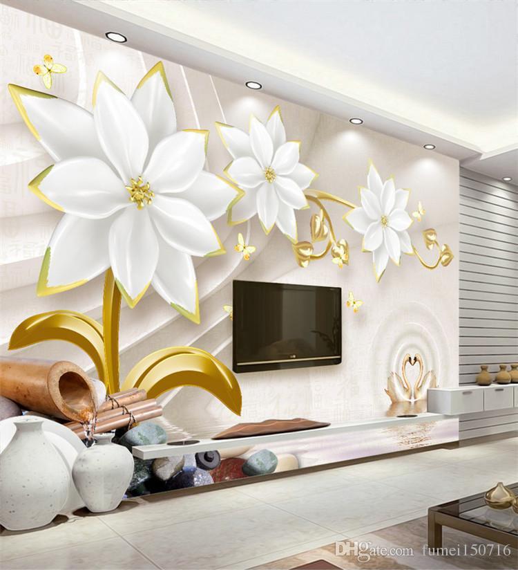 Embossed Flower Mural Wallpapers For Bedroom Living Room Home Decor ...
