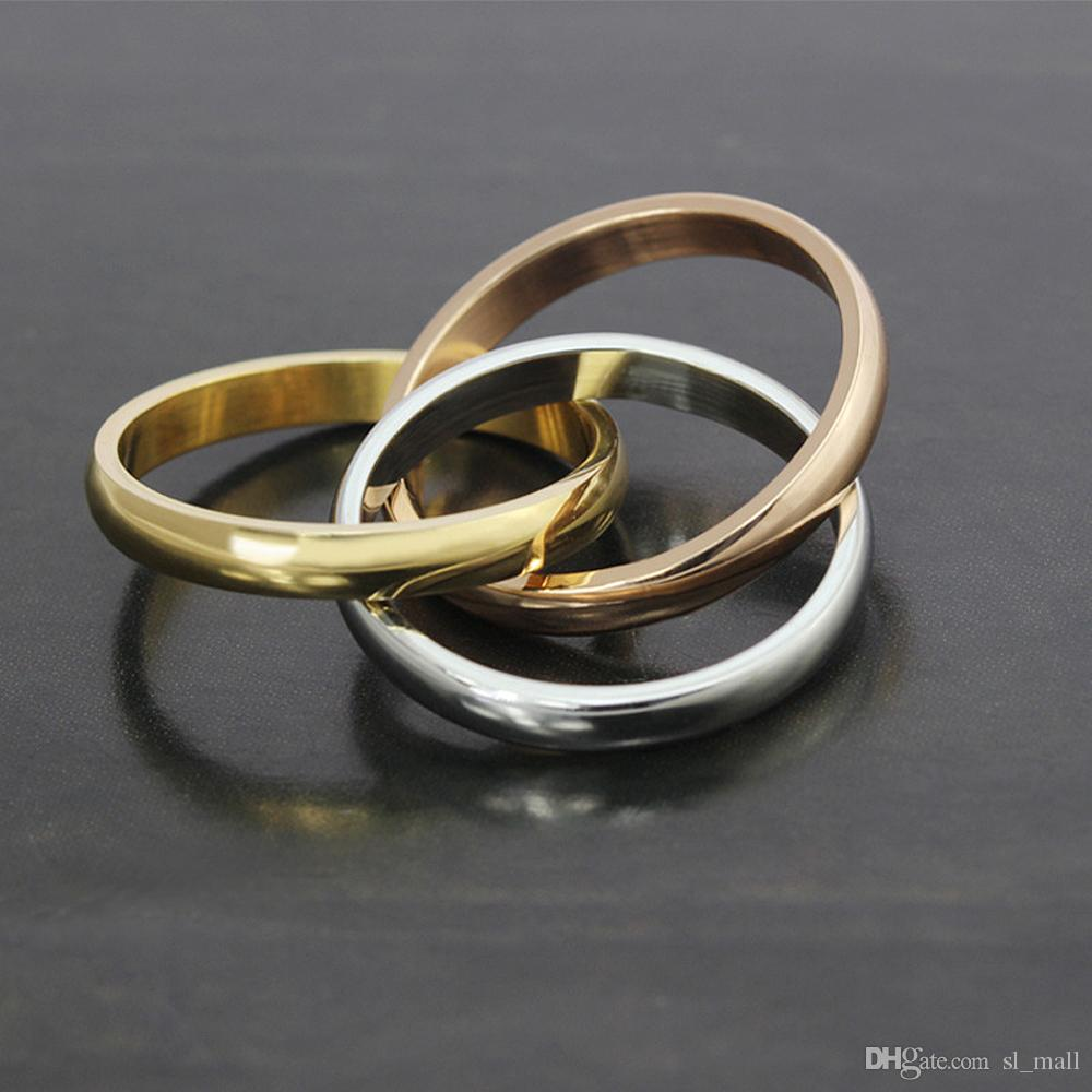 2018 Tricolor Three In One Seamless Rings Mixed Yellow Gold Rose Silver Metal Colors Titanium Stainless Steel Women Fashion Jewelry From Sl Mall