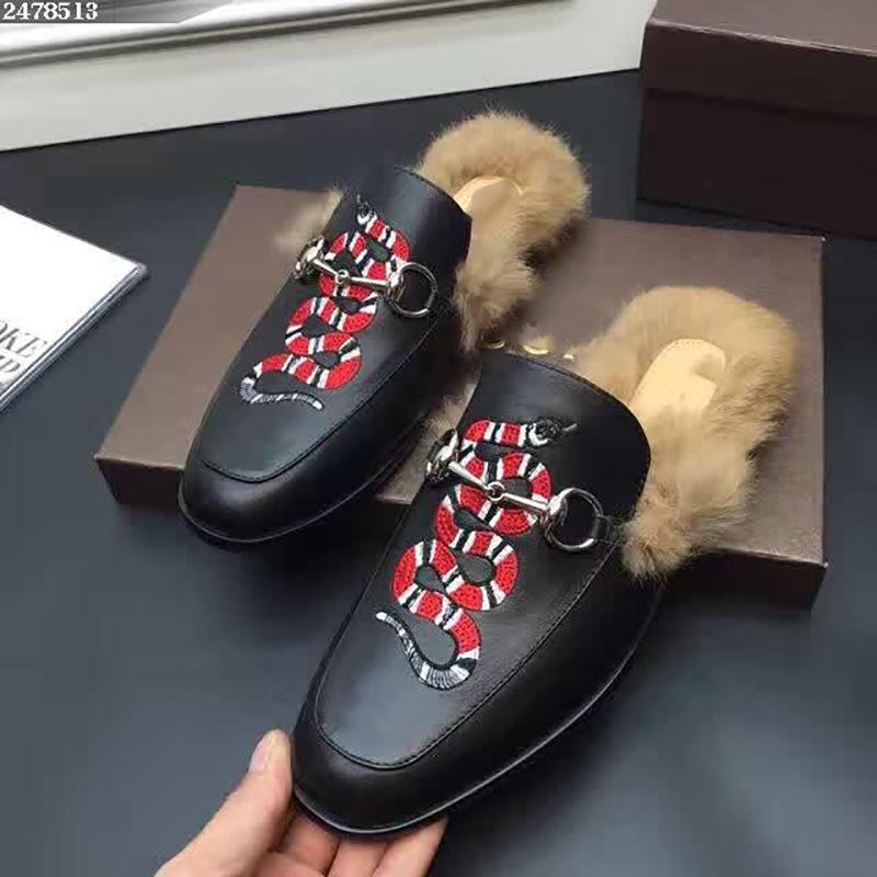 1d009717689 Snake Slippers Man With Fur Real Leather Embroidered Coral Snake Hair Drag  Rose Lips Horse Cuff Upholstery Winter Home Shoes Woman Men Boots Slipper  Boots ...
