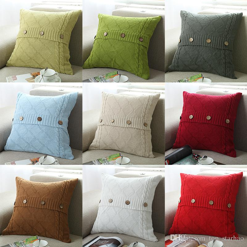 2017 Pillow Cover Button Knitted Twist Decorative Cable Knitting