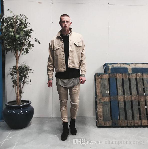 BEIGE khaki Denim zerrissene Jeans Hip-Hop Swag Straße Jacke Herren über Größe Bomberjacke Militär