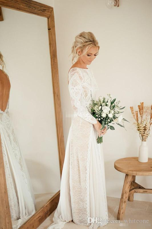 New Design Long Sleeve Sheath Wedding Dresses Backless Vintage Illusion Full Lace Floor Length 2017 Bohemia Bridal Gowns for Summer Wedding