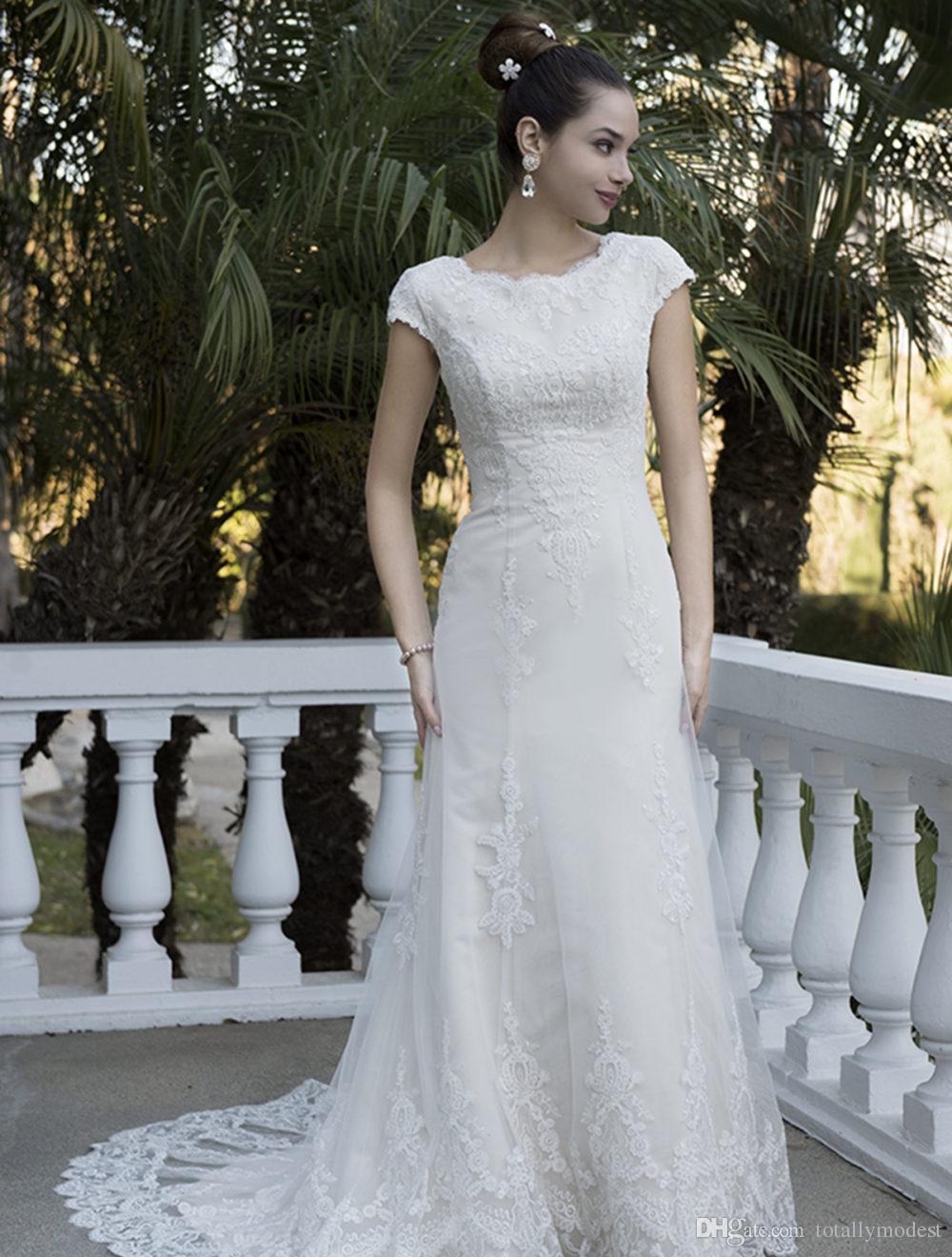 Mermaid pizzo vintage modesto abiti da sposa con maniche a cappuccio gioiello collo maniche corte pulsanti indietro nuovi abiti da sposa modesto personalizzato