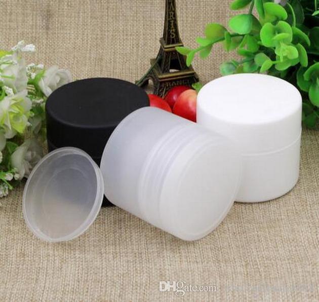 Fabrika Fiyat Krem Şişe 50g Boş Makyaj Örnek Şişeler İç Kapaklar ile Krem Jel Kavanoz Tencere Beyaz, Siyah, Şeffaf