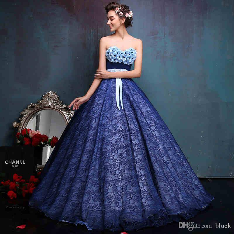 2016 Full Lace Colorful Wedding Dresses A Line Up Floor Length Navy Blue New 3d Floral Appliques Bridal Gowns Plus Size For Older