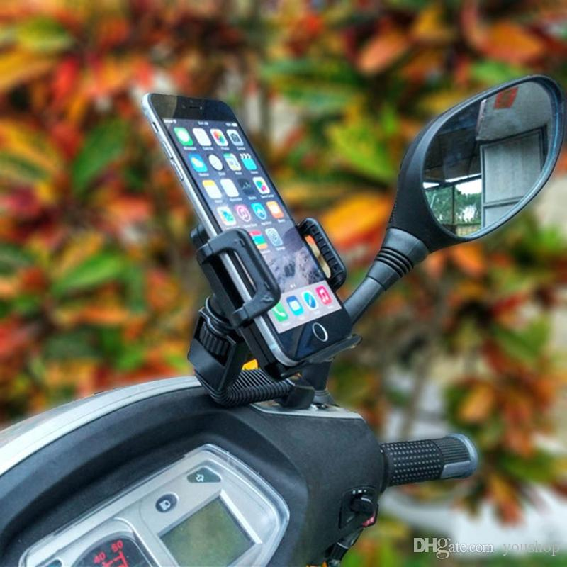Universal Motorcycle Phone Holder Rearview Mirror Mount Mobile Phone Holder for iphone 7 7 Plus 6S 6 Plus SE 5S