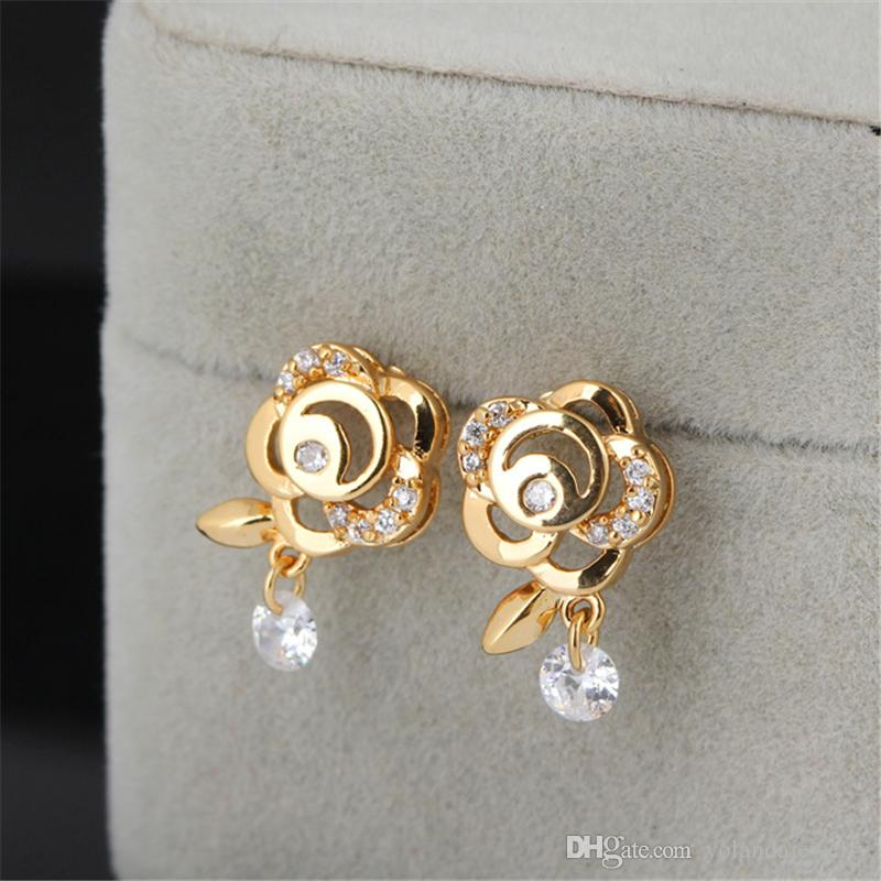 f31952d1b Perfect Valentine's Day Gift for Girl Friend 18K Yellow Gold Plated CZ Rose  Earrings Studs for Girls Women ER-681