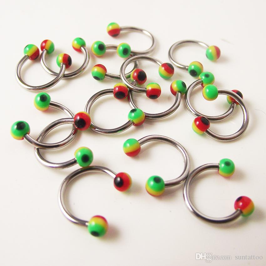 Stainless Steel Nose Ring Circular piercing Rainbow ball Spike Horseshoe Rings CBR ring BCR earring