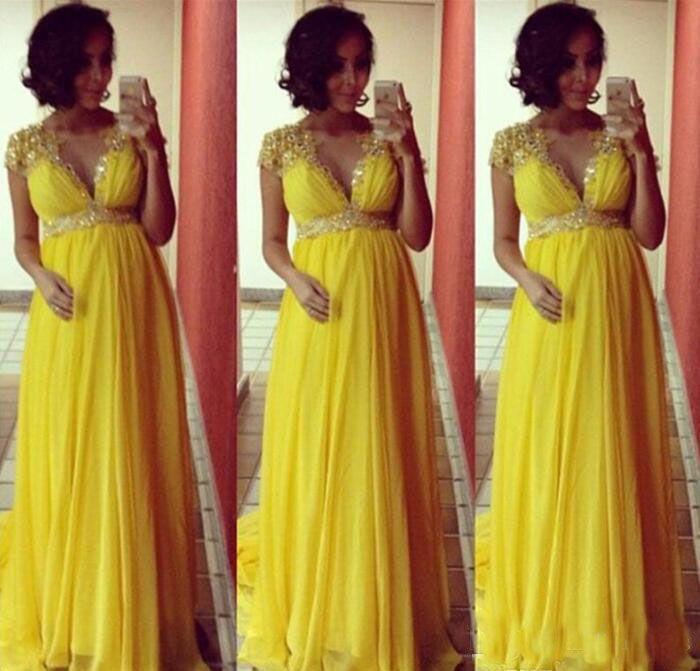 Amarillo brillante de manga corta de gasa vestidos de noche largos para las mujeres embarazadas de maternidad fiesta formal vestidos de baile Empire Beads Crystal Sash