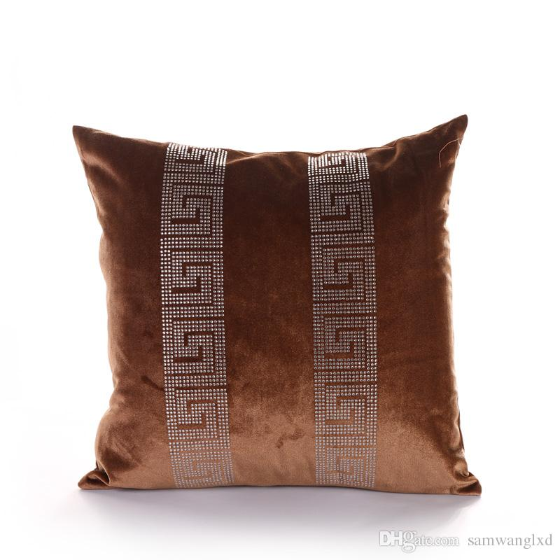 Europe and America High Grade Cushion Cover Velvet Sofa Chair Seat Decor Throw Pillow Case Geometric Print Square 18X18 Inches Pillow Cover