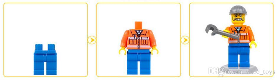 Kids Building Blocks Bricks Mini Cartoon Urban Engineering Man Figures Doll Toys Kids Gift Puzzle Toy