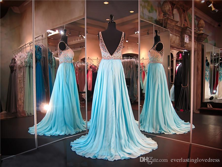Spaghetti Straps Multi Colored Beaded Top Blue Chiffon Prom Dress Open Back Flowly Skirt Evening Gown Pageant Dress