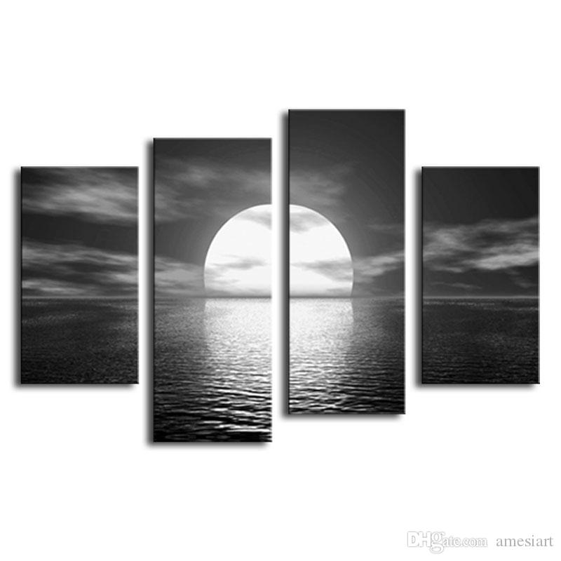 4 Panel Canvas Paintings Over the Sea the Moon Shines Bright Rainbow Seascape Painting Printed on Canvas of Wall Art with Wooden Framed