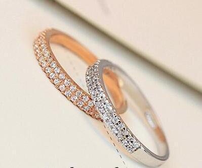 우아한!!! 18K 로즈 골드 도금 오스트리아 모조 다이아몬드 마이크로 설정 더블 행 디자인 레이디 손가락 반지