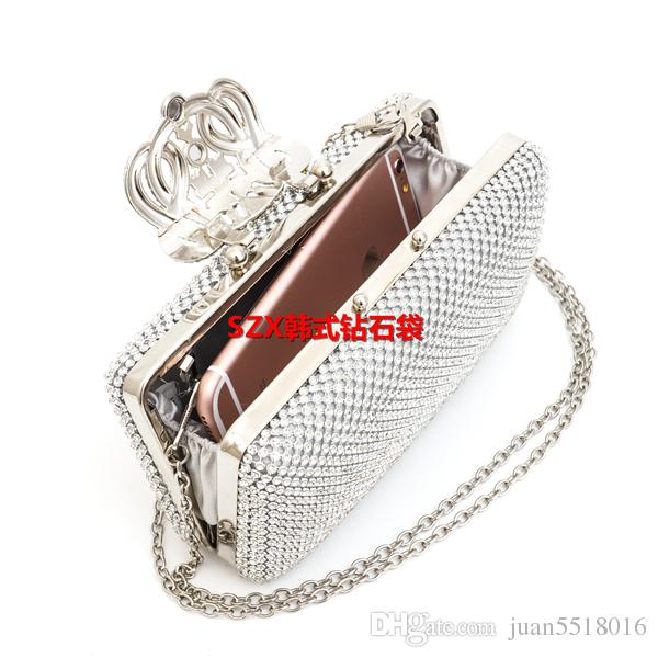 Factory wholesale price of Crown rhinestones evening bags purse sided full diamond clutch evening bags shoulder bag for wedding