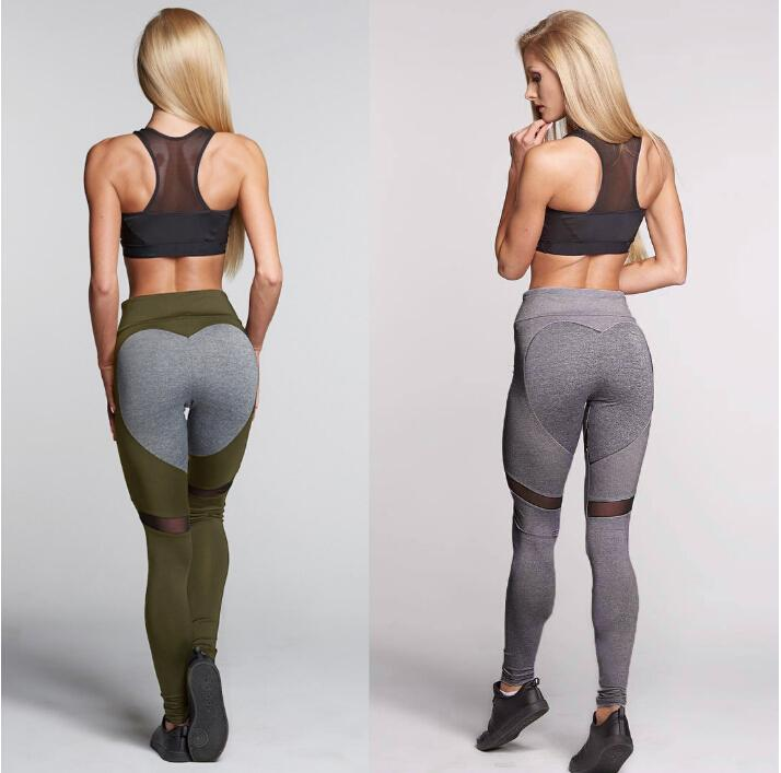 Hot New Women Yoga Pants Sports Fashion LOVE PATTERN Design Mesh Holes Slim Fittness Pants Long Trousers