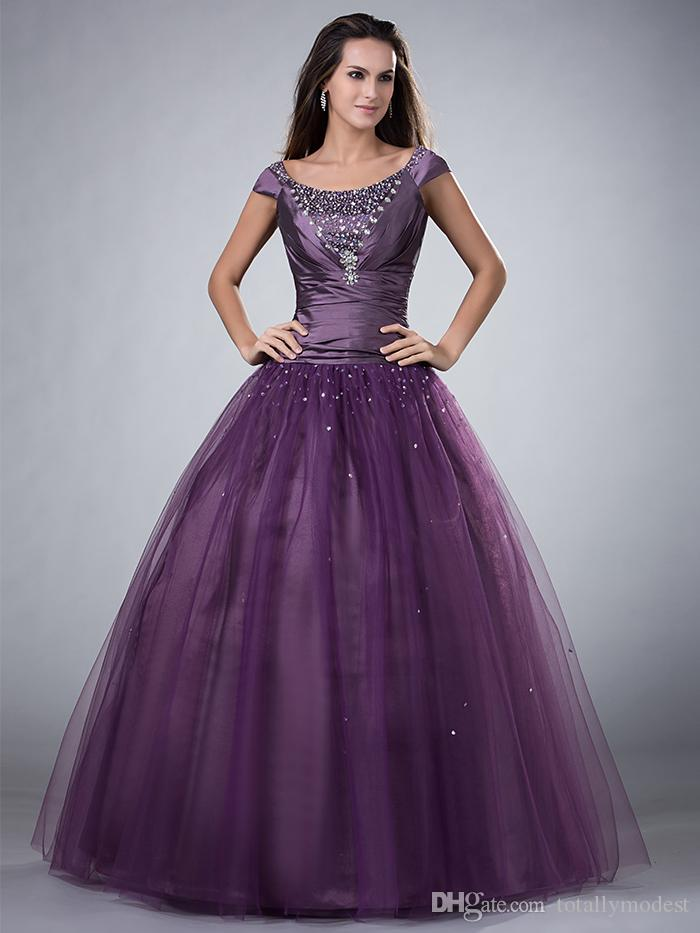 Purple Ball Gown Long Modest Prom Dresses With Short